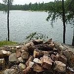 Campsite fireplace at Halfway Lake Provincial Park.