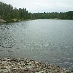 Lake-level view along Halfway Lake Park's Hawk Ridge Trail.