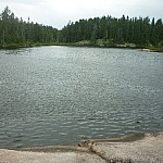 Rocky water access at Halway Lake Park.