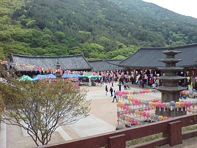 While trekking Jirisan, we were lucky enough to see Hwa-eom Temple decorated for Buddha's birthday.