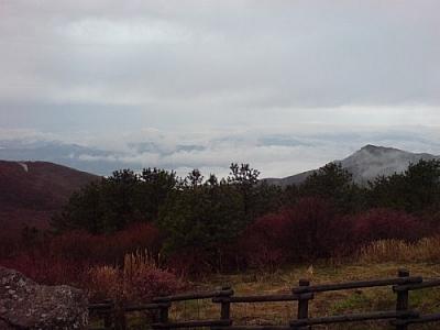 Scenery outside Nogodan Shelter while trekking Jirisan National Park.