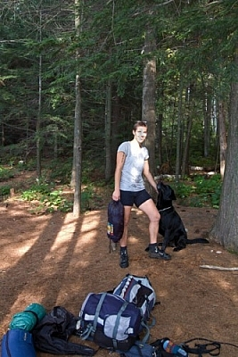 Posing with Fetcher on the La Cloche Silhouette Trail in Killarney Provincial Park.