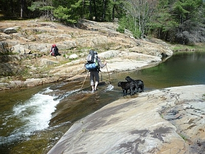 Marc wading into a shallow stream on our first day trekking Killarney's La Cloche Silhouette loop trail.