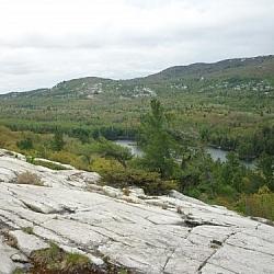 Angled sloping landscape of Killarney's La Cloche Silhouette loop trail.