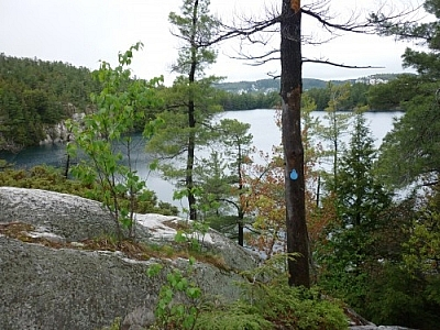 Scenic view along the La Cloche Silhouette Trail in Killarney Provincial Park.
