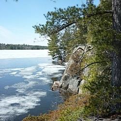 Ice melting on Lake Nipissing.