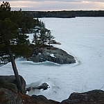 Panoramic vistas over McCrae Lake are a reminder that winter is not yet gone, snow thicker here.