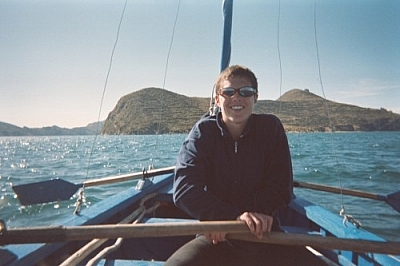 Getting to Isla del Sol by rowboat on Lake Titicaca.