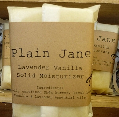 Plain Jane Soap solid moisturizing bar, packaged in wax paper with a paper label.