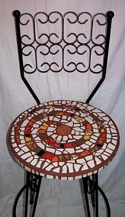 Mosaic chair by Andrea Gregoire of Pique Passion Mosaics