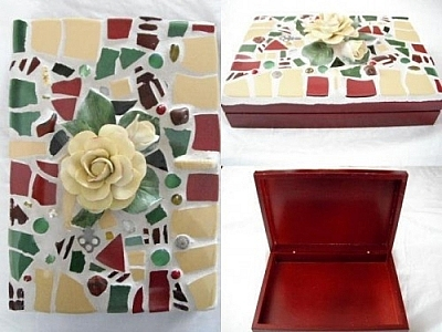 Mosaic box by Andrea Gregoire of Pique Passion Mosaics