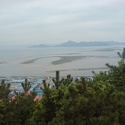 View of the Nakdong Estuary from Ami Mountain.