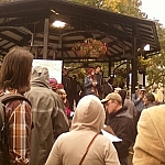 Crowd listening to speakers at Occupy Toronto.