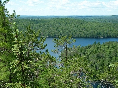 Picturesque scene from Rib Mountain on the Ottawa-Temiskaming Highland Trail near Temagami
