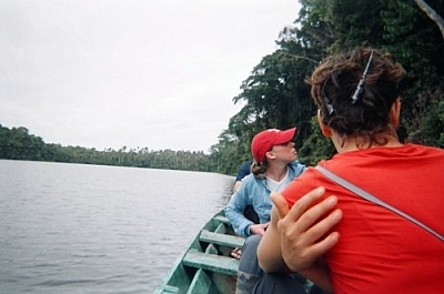Visiting an oxbow lake on the Tambopata Reserve by canoe.