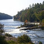 A small gushing waterfall with historical significance in French River Provincial Park