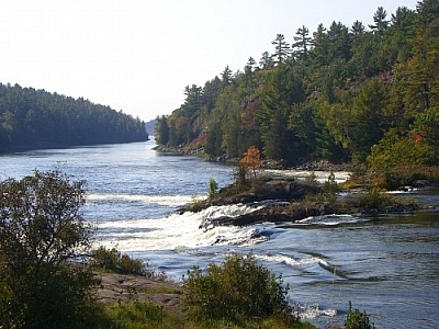 Outdoor recreation in the French River and Lake Nipissing area at historic Récollet Falls, French River Waterway Provincial Park.