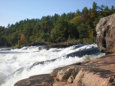 Close-up view of fast-flowing Récollet Falls, French River, by Matt Vrijburg.