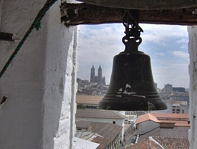 View of the Basilica del Voto Nacional from the bell tower at Monestario de Santa Catalina, Quito.