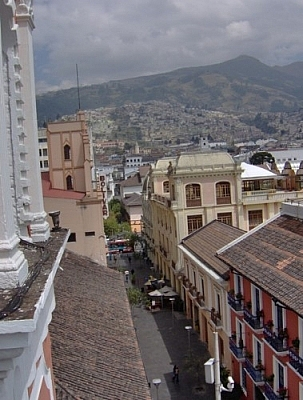 View of a Quito street from the Monestario de Santa Catalina