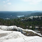 Scenic view of a lake from atop Silver Peak.