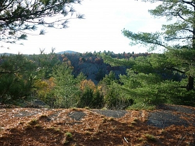 View of Silver Peak while hiking in Killarney Provincial Park on Lake of the Woods Trail