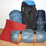 Our sleeping camp gear, all packed up and ready to go.