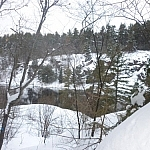 Scenery while snowshoe hiking in French River Provincial Park.