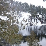 View of French River while snowshoe hiking to Récollet Falls.