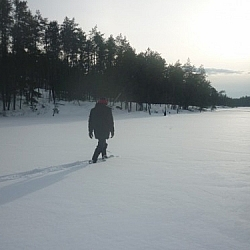 Layering winter wear for warmth is important when snowshoeing, like during this outing on Lac Clair in French River.