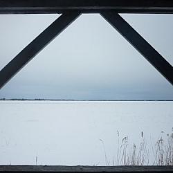View of Lake Nipissing while snowshoe hiking at Sturgeon River House.