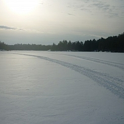 Snowmobile tracks on Lac Clair in French River.