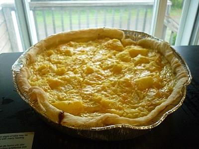Vegetarian pie baking with squash.