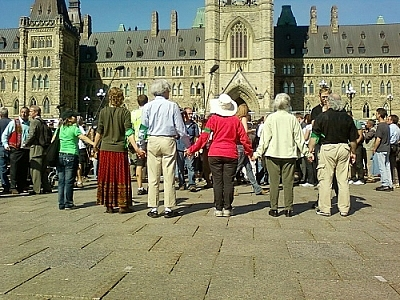 The first wave of Keystone XL pipeline protesters preparing to be arrested at Parliament Hill.