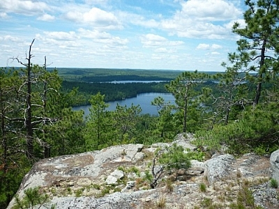 Hiking up Rib Mountain provides plenty of beautiful scenery like this view looking down on Cliff Lake.