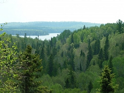 Panoramic vista while hiking in Ontario's Wakami Provincial Park.