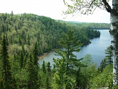 Scenic view of Wakami Lake from a lookout point on the Height of Land Trail.