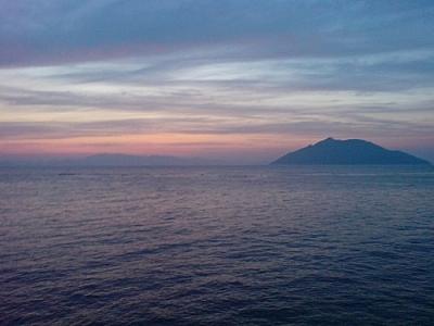 Sunset over the ocean seen while exploring Yokji Island.