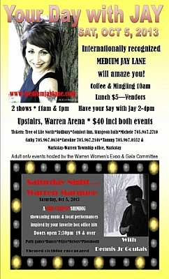 Your Day with Medium Jay Lane and Saturday Night at the Warren Marquee with JR Goulais