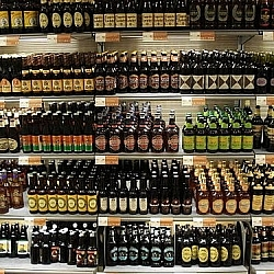 Options for better beer: bottles displayed in a store cooler
