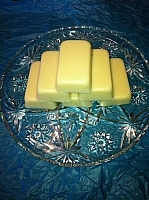 Homemade coconut oil moisturizing bars made by Mireille Dupuis, a great addition to an eco-friendly personal care routine.