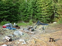 Our campsite at Wakami Lake Provincial Park