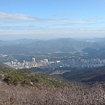 A view of the city of Busan from somewhere along the Geumjeong Fortress trail between Bukmun and Dongmun.