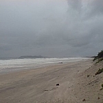 Stormy ocean scenery from the beach at Byron Bay, Australia.