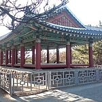 Beautiful gazebo-type structure in the Buddhist temple style.