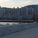 My neighbourhood where I was living in Busan — my apartment building is the shortest, palest one in the centre.