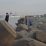 People fishing off the docks at the Port of Dadaepo in Busan, South Korea.