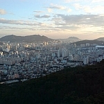 A late afternoon view of Busan from the cable car coming down from the Geumjeong Fortress hike.
