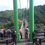 Crossing the suspension bridge at Cheongnyangsan Provincial Park.