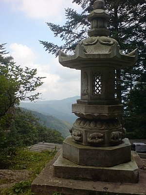 A stone lantern at the peak of Chiaksan National Park.